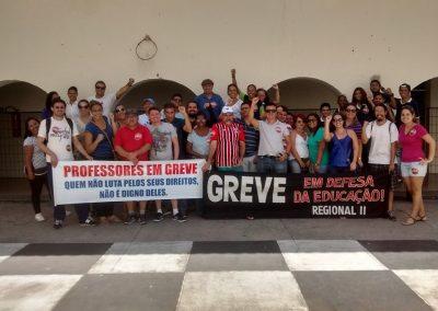 Professores e alunos em ato pela Greve Geral da Educação na Escola Visconde do Rio Branco, em Fortaleza.