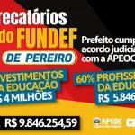 PRECATÓRIOS DO FUNDEF DE PEREIRO: PREFEITO CUMPRE ACORDO COM A APEOC E DINHEIRO ESTÁ NO BOLSO DOS PROFISSIONAIS DA EDUCAÇÃO