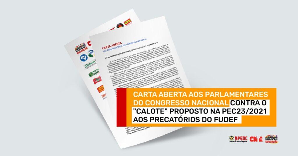 CARTA ABERTA AOS PARLAMENTARES DO CONGRESSO NACIONAL